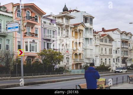 Beautiful wooden buildings in Arnavutkoy area of Istanbul, Turkey, photographed on 28 Feb 2017 - Stock Photo