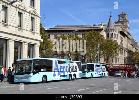 Airport Aerobus in Barcelona, Spain - Stock Photo