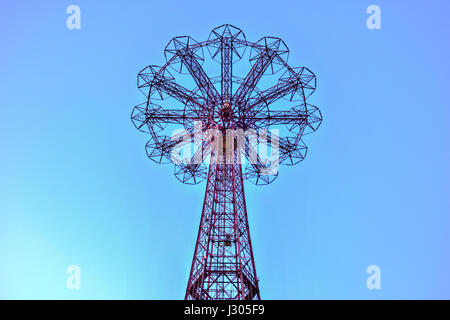 Coney Island Boardwalk with Parachute Jump in Coney Island, NY. - Stock Photo