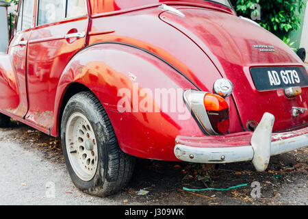 GEORGE TOWN, MALAYSIA - MARCH 24: Morris Minor 1000 parked on the street of George Town on March 24, 2016 in George - Stock Photo