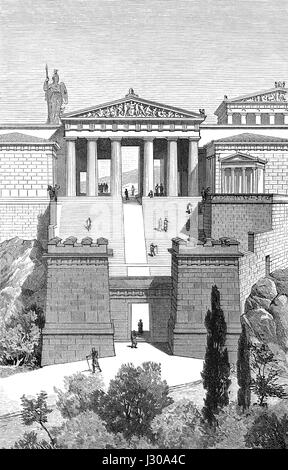 Reconstruction of the propylaea, the entrance to the Acropolis in Athens, Greece, 5th Century BC, - Stock Photo