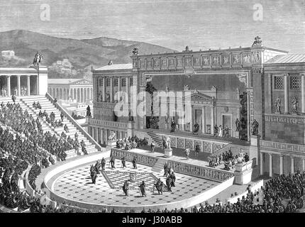 Reconstruction of the Theatre of Dionysus in ancient Athens, Greece - Stock Photo