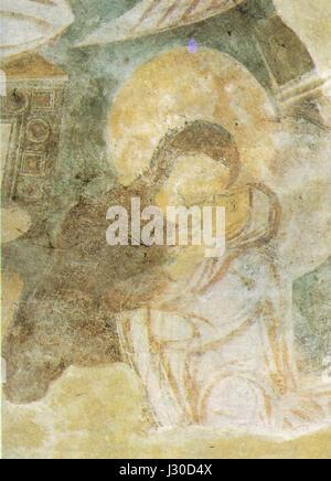 Benevento, chiesa di santa sofia, visitazione (particolare) affresco fine VIII inizio IX secolo - Stock Photo