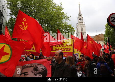 London, UK. 1st May, 2017. Dancers, artists and workers participate in the May Day march in a showing of workers - Stock Photo
