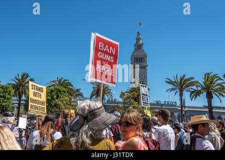 San Francisco, California, USA. 1st May, 2017. Protesters gather at Justin Herman Plaza by the San Francisco Ferry - Stock Photo