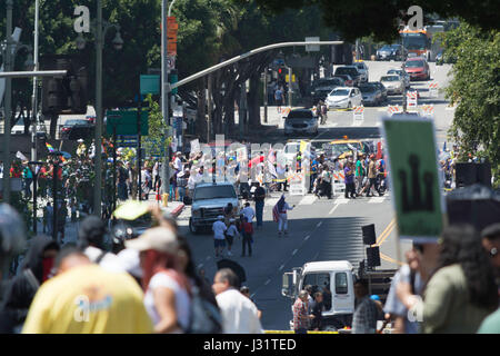Los Angeles, USA. 1st May, 2017. May Day Rally in Downtown Los Angeles. Credit: Chester Brown/Alamy Live News - Stock Photo