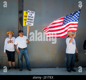 Los Angeles, USA. 1st May, 2017. Protesters at May Day rally in Downtown Los Angeles, California, May 1st, 2017. - Stock Photo