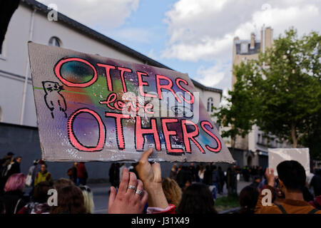 Paris, France. 1st May, 2017. Demonstrators attend the annual May Day demonstrations on 1st May in Paris, France. Trade unionists and anti-capitalist activists gather annually around the world to attend May Day Rallies during International Labour Day. Credit: Bernard Menigault/Alamy Live News Stock Photo