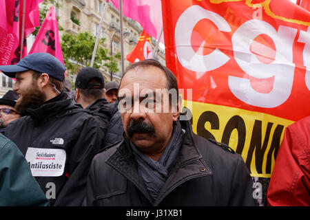 Paris, France. 1st May, 2017. Philippe Martinez attends the annual May Day demonstrations on 1st May in Paris, France. Trade unionists and anti-capitalist activists gather annually around the world to attend May Day Rallies during International Labour Day. Credit: Bernard Menigault/Alamy Live News Stock Photo