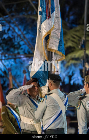 Jerusalem, Israel. 01st May, 2017. The Chainging of the Flag ceremony during Israel's 69th independence day ceremony, - Stock Photo