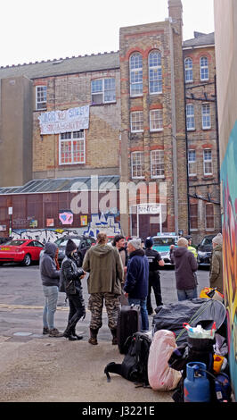Brighton, UK. 2nd May, 2017. Squatters were evicted from the University of Brighton's former Circus Street building - Stock Photo