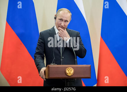 Sochi, Russia. 2nd May, 2017. Russian President Vladimir Putin, photographed during a press conference with German - Stock Photo
