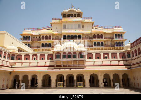 The Chandra Mahal Palace, part of the City Palace of Jaipur in Rajasthan, India. - Stock Photo
