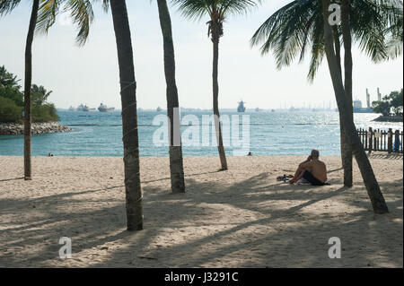 21.03.2017, Singapore, Republic of Singapore, Asia - A visitor sits in the shade under palm trees at Tanjong Beach - Stock Photo