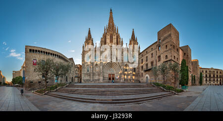BARCELONA, SPAIN - NOVEMBER 16, 2014: Panorama of Cathedral of the Holy Cross and Saint Eulalia in Barcelona. The - Stock Photo