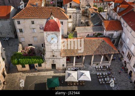 Aerial View of Saint Sebastian Church in the Center of Trogir, Dalmatia, Croatia - Stock Photo