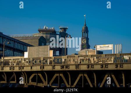 Metro station Baumwall and the church 'Der Michel', the Hamburg's landmark - St. Michaelis church in Hamburg, Germany - Stock Photo