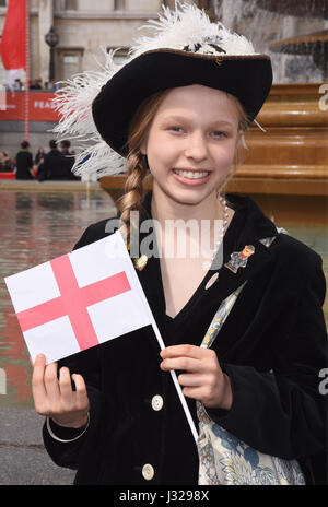 Pearly Princess of Norbury holding a flag of St George,Feast of St George,Trafalgar Square,London.UK 22.04.17 - Stock Photo