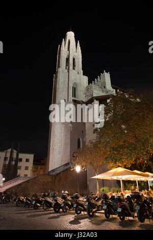 Church of Sant Feliu - Basilica of Saint Felix at night in Girona city, Catalonia, Spain - Stock Photo