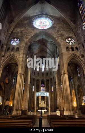 Girona Cathedral interior in Girona, Catalonia, Spain, high altar and apse - Stock Photo