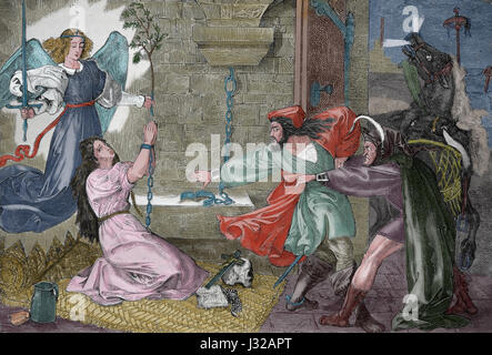 Faust visiting Gretchen in Prison. Engraving by Peter Cornelius, Germna (1783-1867). 1816. Bilder zu Goethe's Faust. - Stock Photo