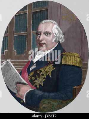 Louis XVIII of France (1755-1824). The Desired. King of France. Portrait. Engraving, Nuestro Siglo, 1883. Spanish - Stock Photo
