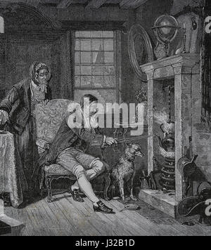 Young James Watt (1736-1819)inventor of the steam engine, staring at a steam kettle. Engraving. Nuestro Siglo, 1883. - Stock Photo