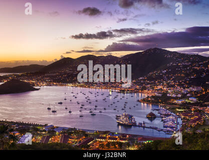 Charlotte Amalie, St Thomas, US Virgin islands, Caribbean, overlooking the harbor at sunset - Stock Photo