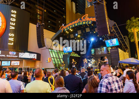 Night performance on 3rd street stage, Fremont Street, downtown Las Vegas - Stock Photo