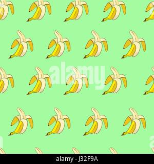 Yellow bananas on green background seamless pattern - Stock Photo