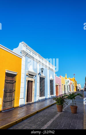 Vertical view of colorful colonial architecture in Campeche, Mexico - Stock Photo