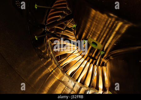 Rolls Royce Trent XWB aircraft engine from inside with reflections of the sun - Stock Photo