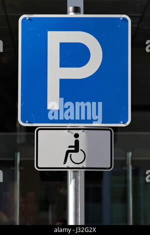 German road sign: parking for disabled drivers - Stock Photo
