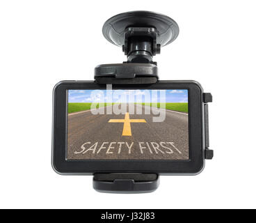 Car gps or navigator device and asphalt road in screen with holder isolated on white background, clipping path include - Stock Photo