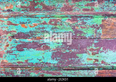 Abstract grunge wood planks texture background with peeling blue paint - Stock Photo