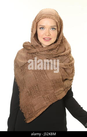 young muslim woman with scarf - Stock Photo