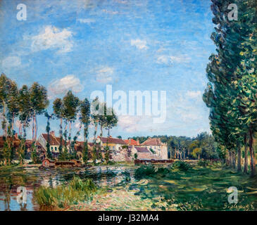 Alfred Sisley. Painting entitled 'Moret, Bords du Laing' by Alfred Sisley (1839-1899), oil on canvas, 1892 - Stock Photo