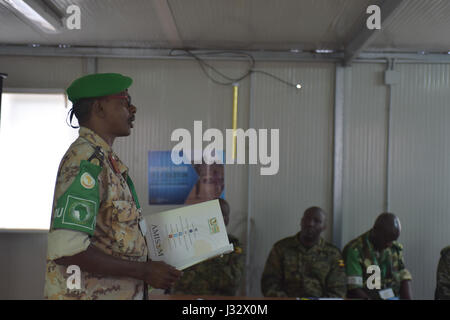 Acting Deputy Force Commander and Chief of Training, Col. Ali Nouhou Abdool, opens a training session for AMISOM - Stock Photo