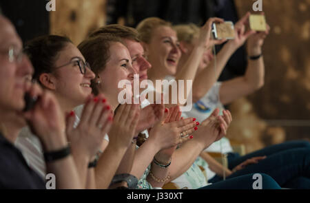 Family and friends of Expedition 51 Soyuz Commander Fyodor Yurchikhin of Roscosmos reacts as they see Yurchikhin - Stock Photo