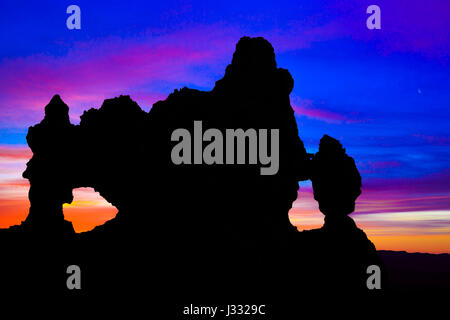 double window silhouetted in the pre-dawn sky at bryce canyon national park, utah - Stock Photo