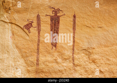head of sinbad pictograph panel in emery county near green river, utah - Stock Photo