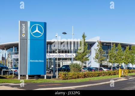 Mercedes-Benz and Smart car showroom, Nottingham, England, UK - Stock Photo
