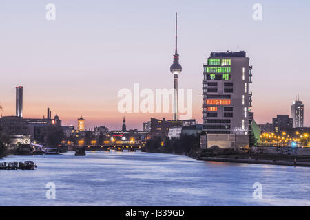 Skyline Berlin and river Spree, View from the Oberbaum bridge towards Media Spree, Skyscraper Living Levels, Mercedes, - Stock Photo