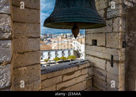 View from the bell tower, Se Cathedral, Largo da Se, Faro, Algarve, Portugal - Stock Photo