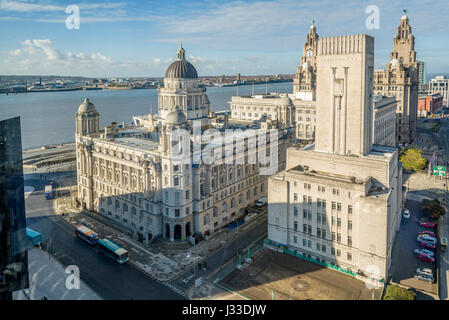 Liverpool waterfront buildings the Three Graces from an unusual angle. - Stock Photo