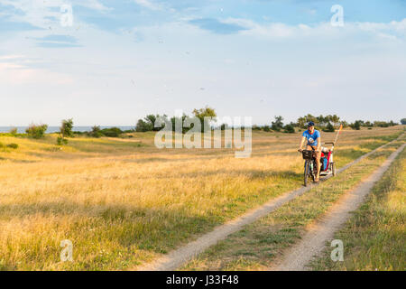 Cyclist with child trailer cycling along a coastal path, Marielyst, Falster, Denmark - Stock Photo