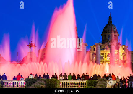 Night light show at Magic Fountain or Font Magica, Barcelona, Catalonia, Spain - Stock Photo