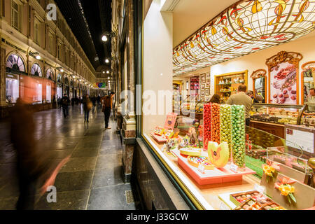 Night view of Galeries St-Hubert, Brussels, Belgium - Stock Photo