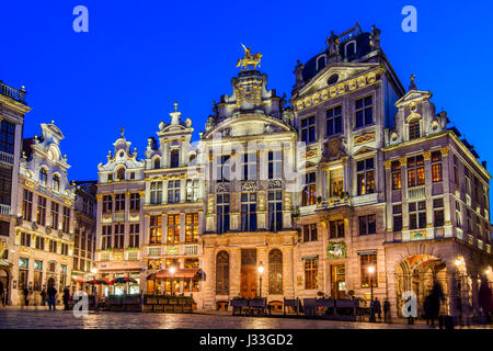 Night view of Grand Place, Brussels, Belgium - Stock Photo