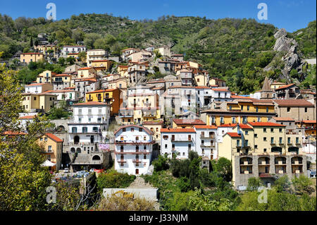 Castelmezzano, Basilicata, Italy - panoramic view of one of the most important italian villages - Stock Photo